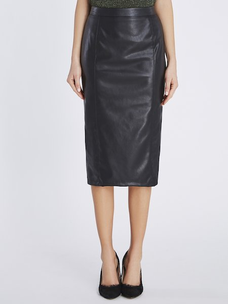 Midi-skirt in eco-leather - Black