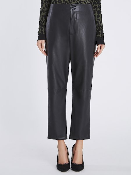 Trousers in eco-leather - Black