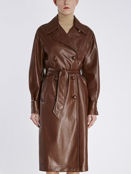 Trench coat in eco-leather with belt - Brown
