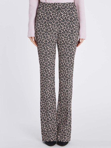 Bell-bottomed jacquard trousers - pink