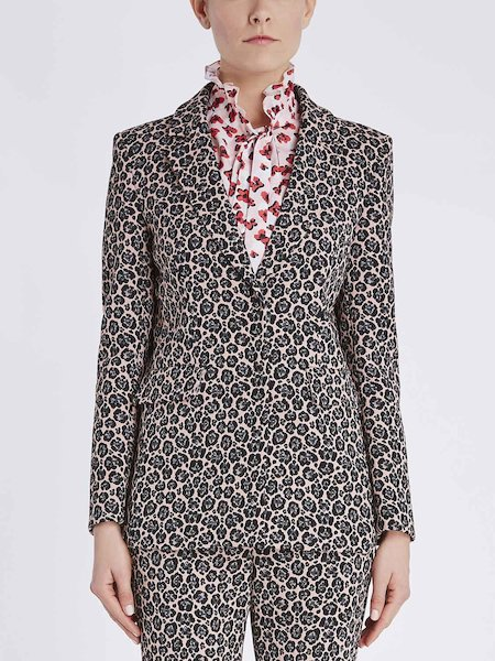 Jacquard blazer with animalier pattern - pink