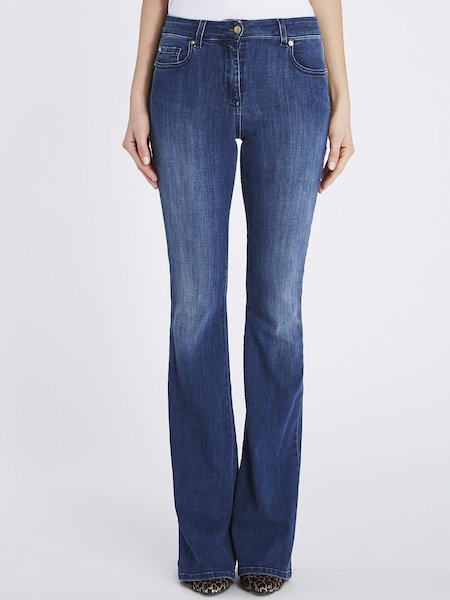 Bell-bottom jeans with push up effect - blue