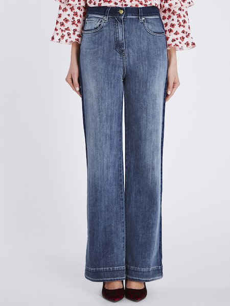 Wide-leg jeans with contrasting bands