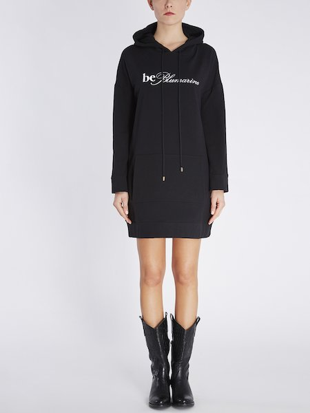 Mini-dress in fleece with logo embroidery - Black