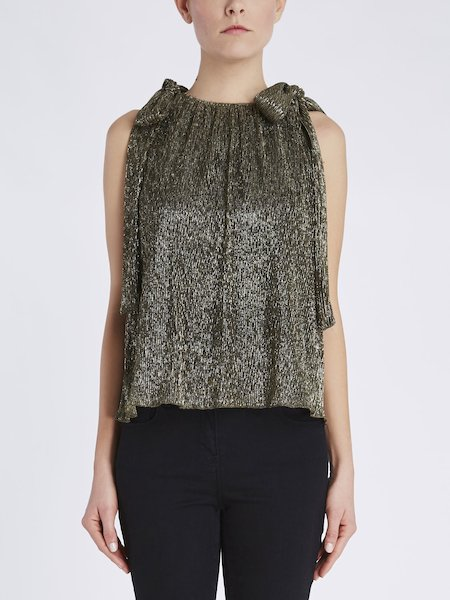 Top in pleated jersey with ribbons - Gold