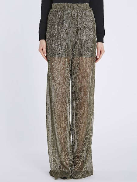 Trousers in pleated jersey Lurex - Gold