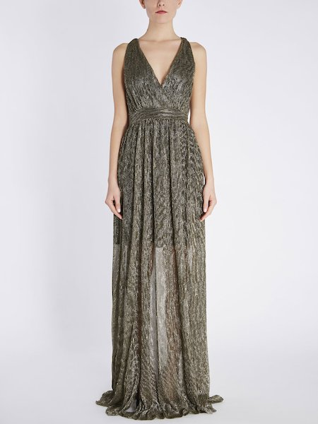 Long dress in pleated jersey Lurex