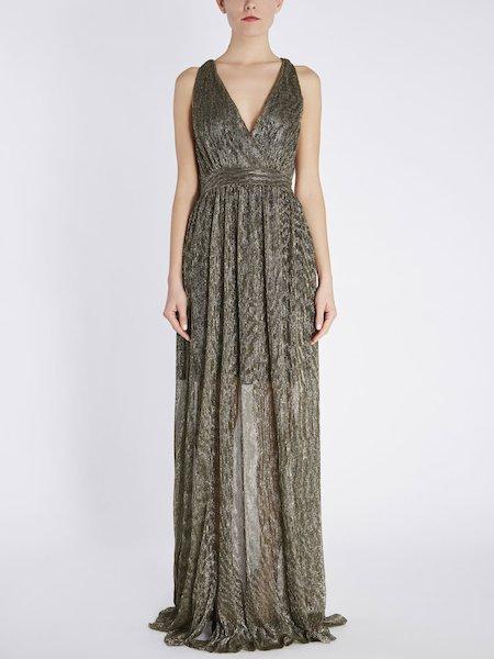 Длинное платье из плиссированного джерси с люрексом