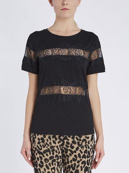 T-Shirt aus Baumwolle mit Spitzeneinsätzen - Schwarz
