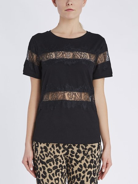 T-shirt in cotton with lace insets - Black