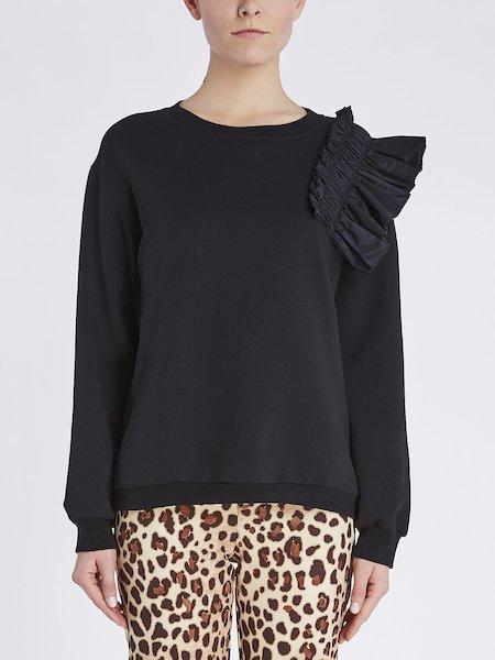 Sweatshirt aus Baumwolle mit Volant aus Taft