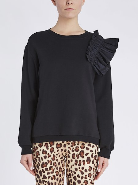 Sweatshirt in cotton with taffeta ruffle - Black