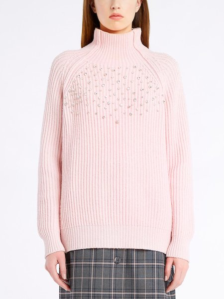 Long-sleeved sweater with rhinestones - pink