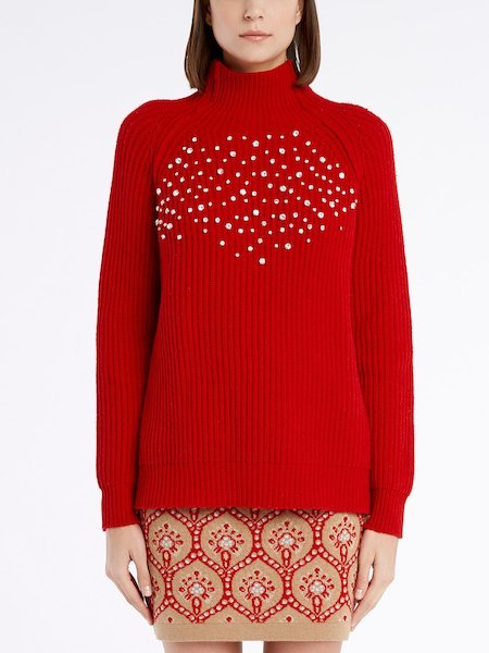 Long-sleeved sweater with rhinestones - rot