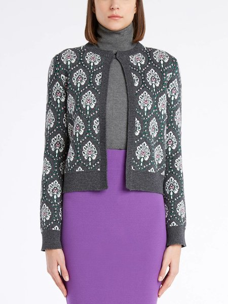 Mandarin collar sweater with long sleeves - Grau
