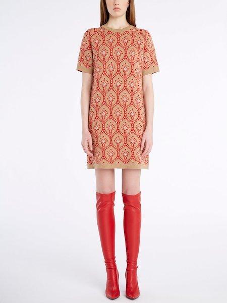 Short-sleeved knit dress - beige