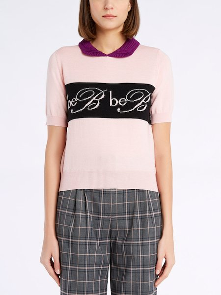Short-sleeve wool sweater with logo - rosa