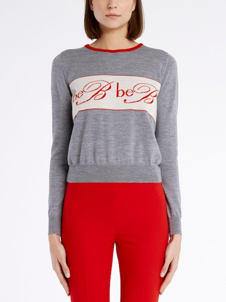 Long-sleeved wool sweater with logo