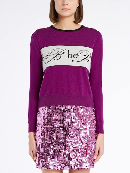 Long-sleeved wool sweater with logo - Purple