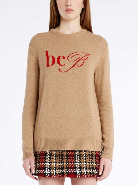 Round-neck sweater with logo - beige