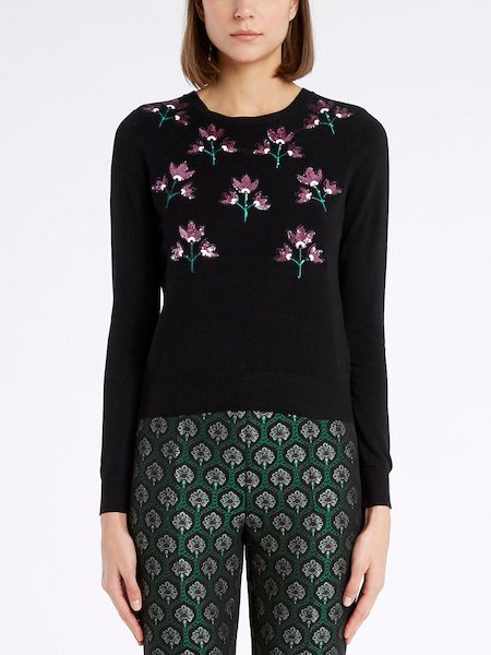 Sweater with sequinned flowers - Schwarz