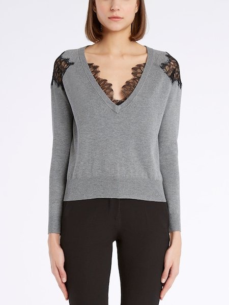 Sweater with V-neck and lace - Grey