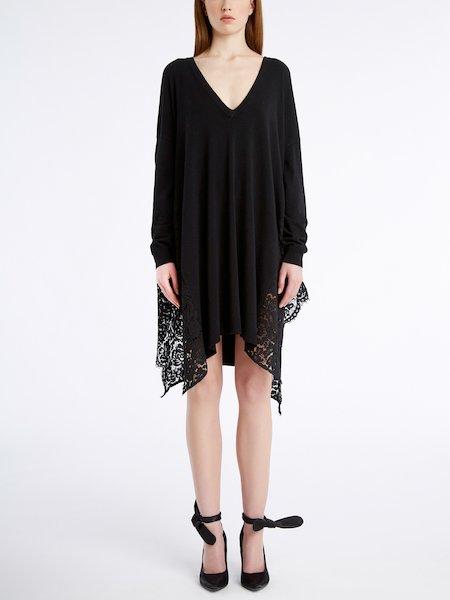 Knit dress with lace - черный