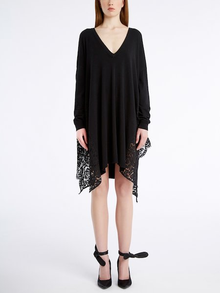 Knit dress with lace - черный