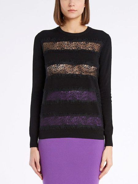 Sweater with lace insets - Black