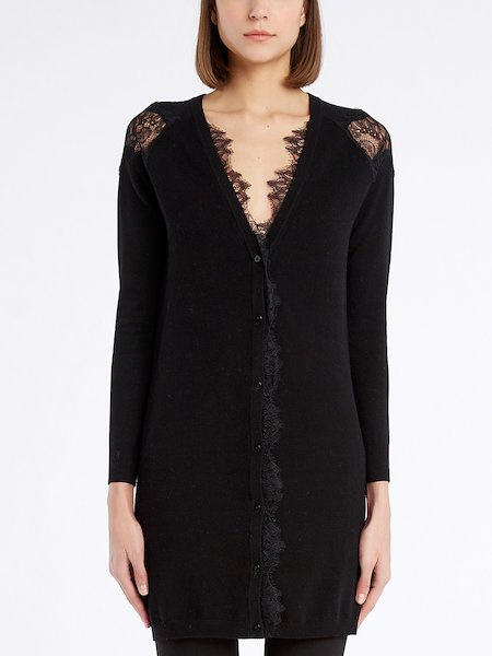 Cardigan with lace insets - Negro