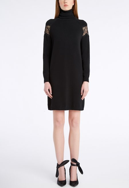 Knit dress with lace insets - Schwarz