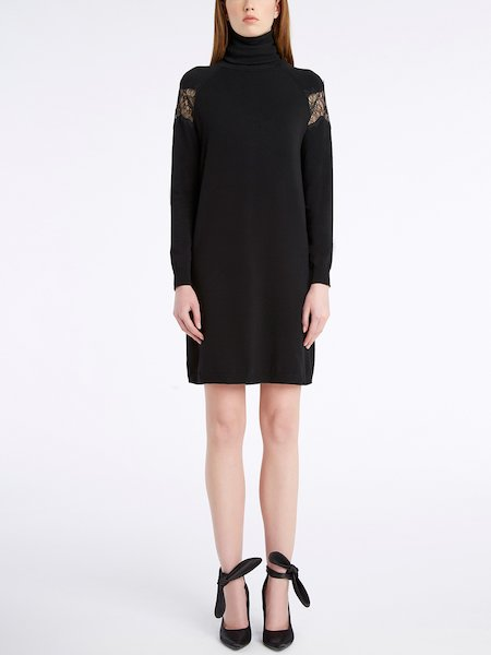 Knit dress with lace insets