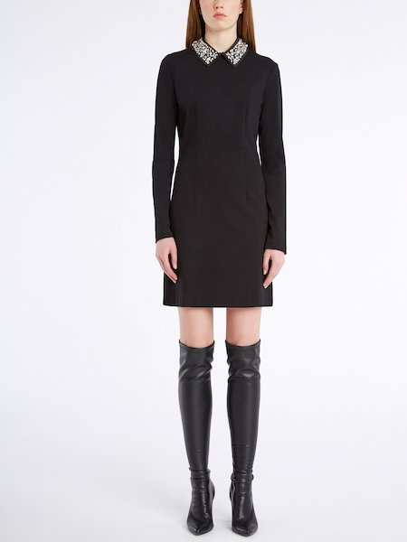 Dress with embroidered collar - Noir
