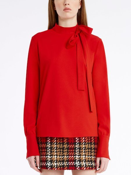 Long-sleeved blouse with bow - red