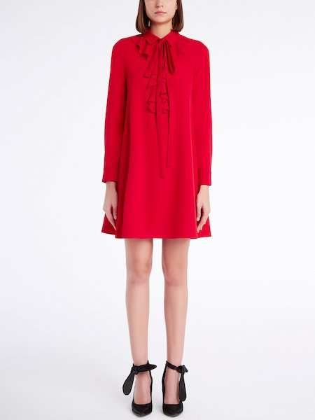 Dress with ruffle and ribbon - red