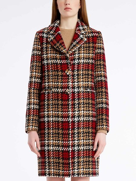 Single-breasted tartan overcoat - черный