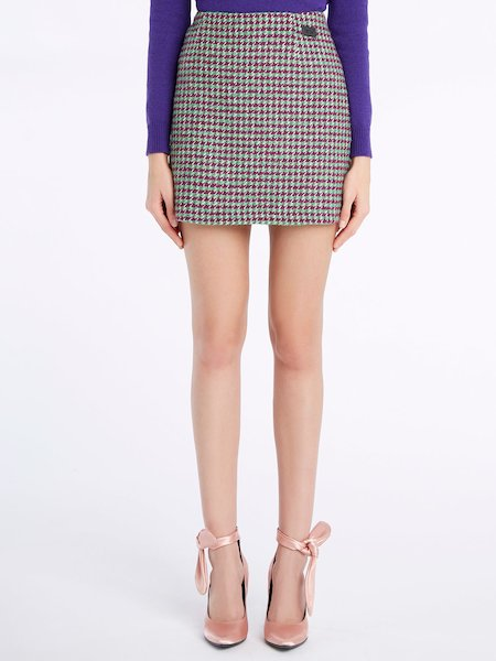 Miniskirt with micro-houndstooth pattern - Verde