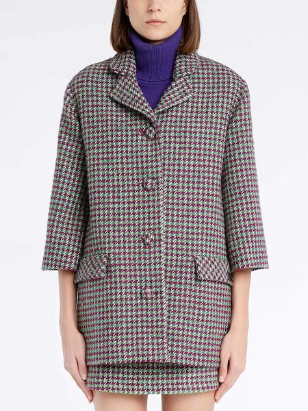 Bowling jacket with micro-houndstooth pattern