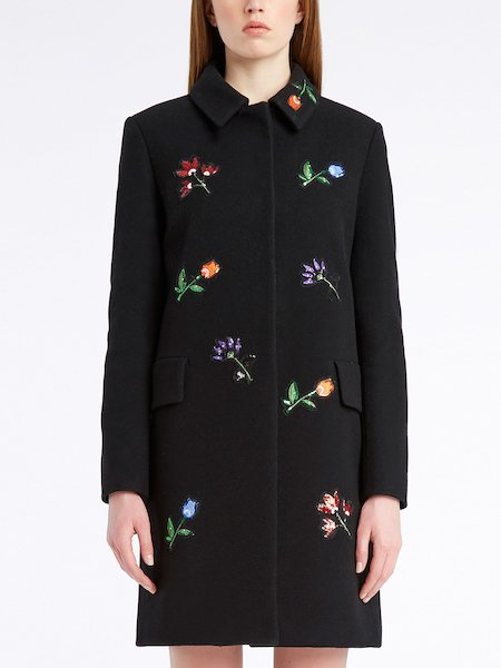 Single-breasted overcoat with sequinned flowers - Black