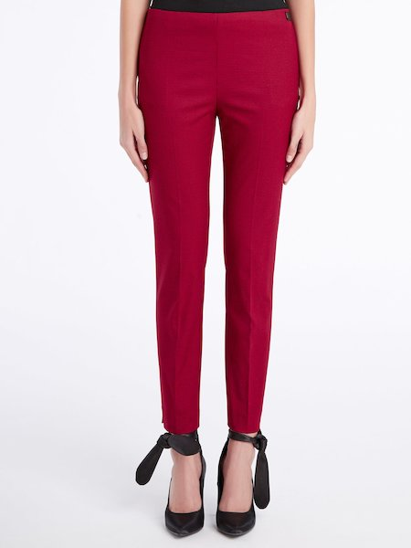 Cigarette-leg trousers in micro-houndstooth pattern - red