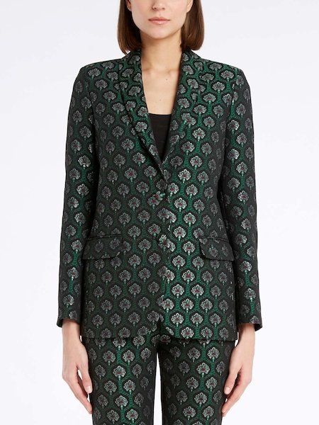 Single-breasted jacket with jacquard motif - Verde