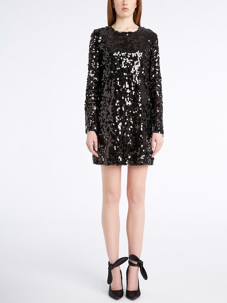 Long-sleeved sequinned dress