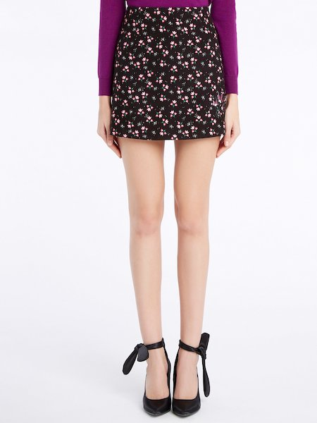 Floral-print miniskirt - Noir