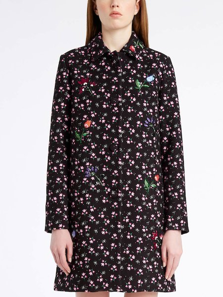 Floral-print overcoat with sequinned floral patches - Black
