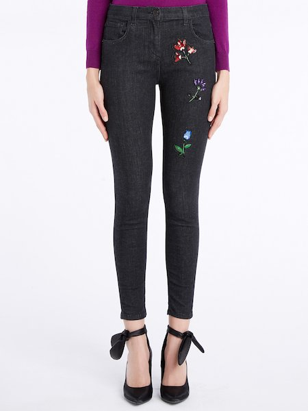 Skinny jeans with sequins - Charcoal