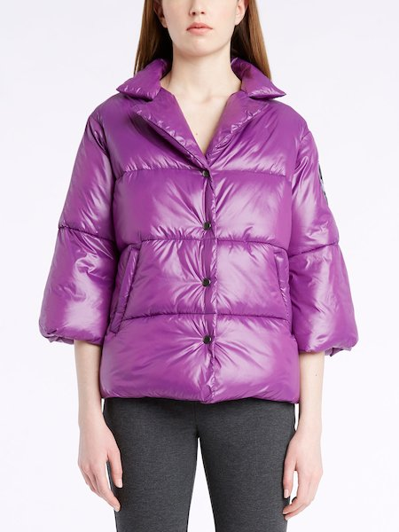 Three-quarter length sleeve down-filled jacket with logo - Violet