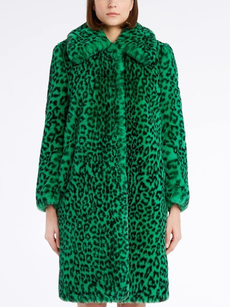 Overcoat in animalier-print faux fur