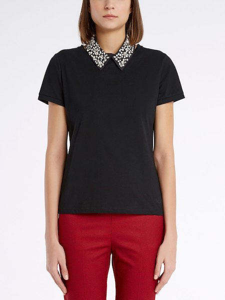 T-shirt with embroidered collar - Negro