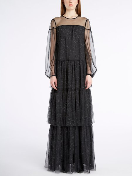 Long dress in glitter tulle with flounces - Negro