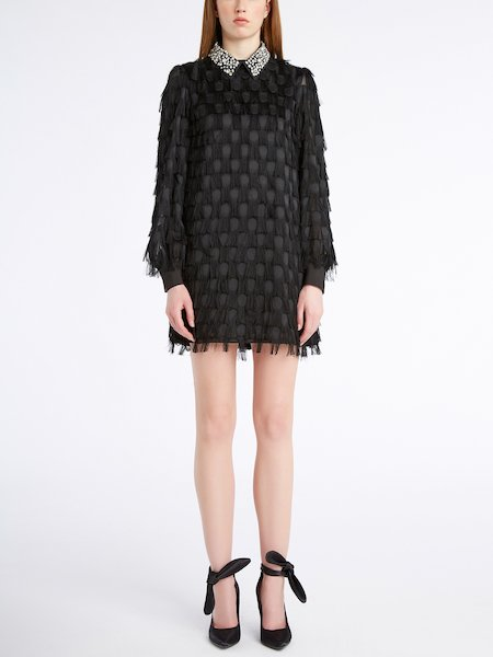 Dress in fil coupé with embroidered collar - Black